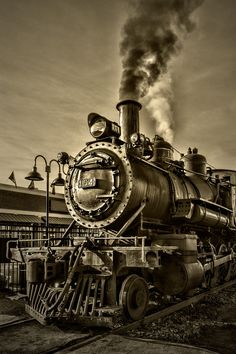 "This x spiral notebook features the artwork ""Engine Steam Black And White"" by Sharon Popek on the cover and includes 120 lined pages for your notes and greatest thoughts. Train Tattoo, Tennessee, Old Steam Train, Super Anime, Old Trains, Vintage Trains, Railroad Photography, Train Art, Train Pictures"