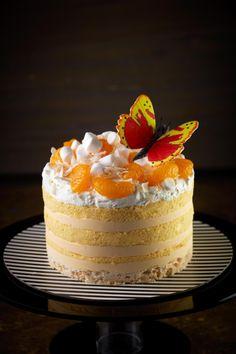 Food of the Gods ~ Luxious layers of Orange Blossom Mousse, White Chocolate coated Crispies, Marshmallow, Mandarin Orange & Coconut with Orange Chiffon cake smothered with decadent Fresh Cream.