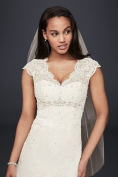 Cap Sleeved Lace Wedding Dress with Empire Waist | David's Bridal