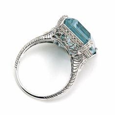 Antique Aquamarine Ring Vintage Art Nouveau Design with Floral Filigree by RareEarth, $4860.00 | Rare Earth Jewelry www.rareearthjewelry.com