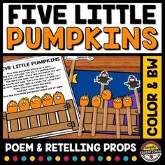 FIVE LITTLE PUMPKINS POEM RETELLING PROPS HALLOWEEN ACTIVITY KINDERGARTEN PRE K