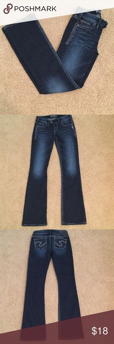 Dark Blue Silver Jeans These jeans are in awesom condition and have a secure waist with a double button! Willing to trade depending on item! Silver Jeans Jeans Boot Cut
