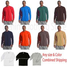 5a08ff58 Proclub men's solid blank heavyweight long sleeve crew neck tee any color  s-7xl