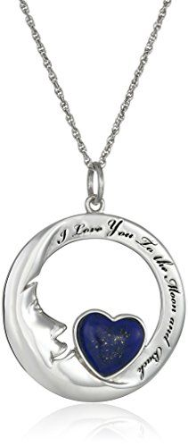 """Sterling Silver Lapis Heart Moon Pendant Necklace, 18"""" Amazon Collection-$36.94 http://www.amazon.com"""