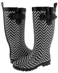 Capelli New York Chevron Dots Tall Rubber Women's Rain Boot ** Click on the image for additional details.