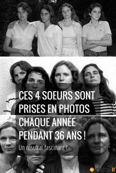 Une fois par an, pendant 36 ans, 4 soeurs se sont faites prendre en photos. L'évolution des modes vestimentaires et des visages sont impressionnantes. Mais une seule chose n'a pas changé : la complicité et l'amour entre ces 4 sœurs ! #famille #photographies #soeurs #family