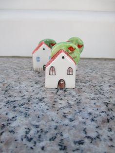 Small Pottery House with TreeSmall HouseShelf by TatjanaCeramics