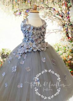 Gray Flower Girl Dress is elegantly accented with Hydrangea flower petals that have a touch of lavender with pearl or rhinestone centers. Our dress style is perfect for showcasing your precious little flower girl. Grey Bridesmaids, Grey Bridesmaid Dresses, Wedding Dresses, Grey Flower Girl Dress, Gray Dress, Princess Prom Dresses, Dress Prom, Knee Length Dresses, Hydrangea Flower