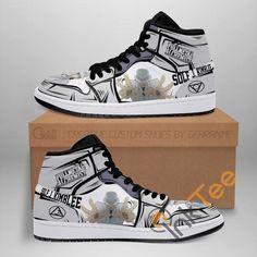 Jordans Sneakers, Air Jordans, High Top Sneakers, Handmade Embroidery Designs, Fulmetal Alchemist, Custom Jordans, Alphonse Elric, Air Jordan Shoes, Sneaker Boots