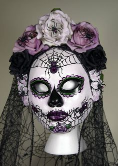 La Rosa Catrina Mask, Day of the Dead full faced paper mache mask wtih attached…