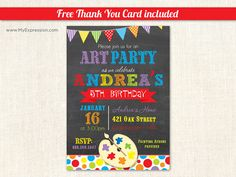 Paint Pallet Chalkboard Kids Birthday Party by MyExpressionInvites