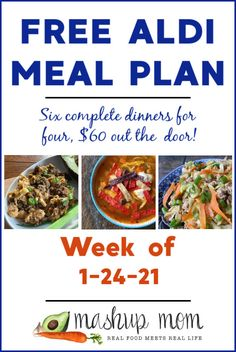 Free ALDI Meal Plan week of 1/24/21 - 1/30/21: Six complete dinners for four, $60 out the door! Save time and money with meal planning, and we're cooking up everything from salsa chicken soup, to egg roll in a noodle bowl this week. Meal Planning Board, Budget Meal Planning, Budget Freezer Meals, Frugal Meals, Healthy Recipes On A Budget, Real Food Recipes, Meal Recipes, Southwest Chopped Salads, Easy Roast Chicken