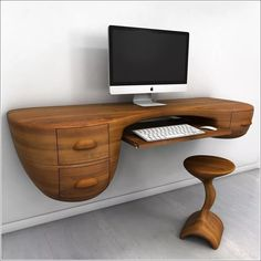 Furniture, Unique Custom Wood Wall Mounted Floating Computer Desk With Keyboard Tray Drawer And Stool Ideas ~ Wall Mounted Desk