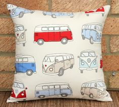 Campervan Camper van pillow cushion cover , 16 x 16 inches - blue, red, beige