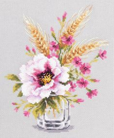 New Sealed Cross Stitch Hand Modern Embroidery Kit Beautiful Widflowers Poppy and Carnation Russian Manufacture Gift Idea Modern Embroidery, Embroidery Thread, Cross Stitch Embroidery, Cross Stitch Patterns, Fabric Birds, Pink Art, Counted Cross Stitch Kits, Cross Stitch Flowers, Cross Stitching