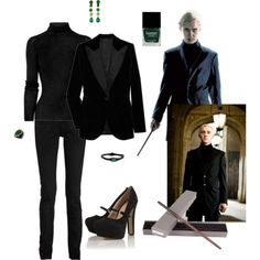 I would wear this not only because it is based off of my favorite character, Draco, but because it is cute & would make a wonderful formal winter outfit ((: Harry Potter Mode, Bijoux Harry Potter, Harry Potter Style, Harry Potter Outfits, Casual Cosplay, Cosplay Outfits, Harry Potter Kleidung, Formal Winter Outfits, Slytherin Clothes