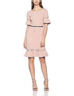 12, Pink (Rose), Paper Dolls Women's Rose Lace Panel Dress NEW