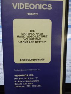 VIDEONICS MARTIN A. NASH VOLUME 5 MAGIC VIDEO LECTURE VHS JACKS OR BETTER rare Please check out all our rare value priced Magic tricks & Books at: http://stores.ebay.com/webrummage