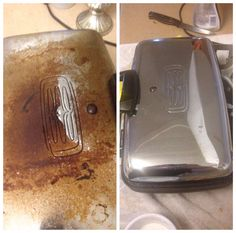 Bar Keepers Friend cleans up an antique waffle iron. WOW