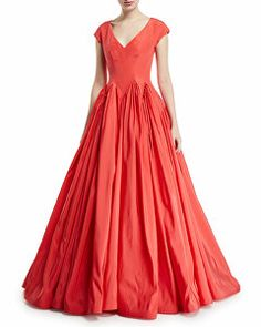 947766c4c0f3c Brandon Maxwell Designer Long-Sleeve Wrap-Belt Silk Faille Evening ...