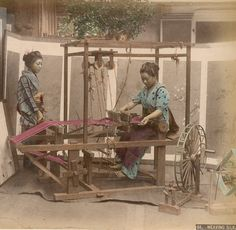 Weaving silk. About 1890, Japan. Unknown photographer