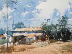 by Vijay Achrekar (b. Watercolor Sky, Watercolor Landscape Paintings, Watercolour Painting, Landscape Art, Watercolours, Watercolor Projects, Art Station, Prado, Art Pictures