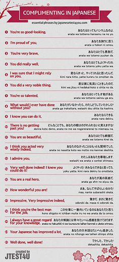 Infographic: how to compliment someone in Japanese
