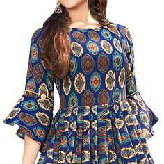 Buy Blooming Blue Colored Printed Partywear Rayon Cotton Long Kurti at Rs. Get latest Printed kurti for womens at Peachmode. Kurti Sleeves Design, Sleeves Designs For Dresses, Kurta Neck Design, Dress Neck Designs, Short Kurti Designs, Printed Kurti Designs, Kurta Designs Women, Frock Design, Frock Style Kurti