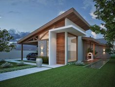 Bungalow House Design, House Front Design, Small House Design, Modern House Design, Facade Design, Exterior Design, One Storey House, Facade House, House Roof