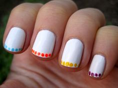 neon polka dot french - I have been all about the polka dots lately, I like this but for me it wont be in white ;D