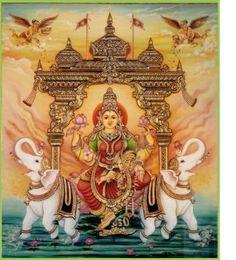 Beautiful God Lakshmi, Tanjore painting.
