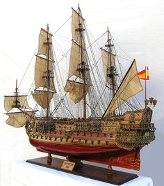 Xlarge 1690s San Felipe Spanish Galleon Ship Model Exclusive Limited Edition. - Wooden