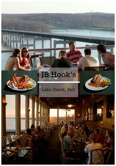 Great ocean fish and steaks are always on the menu at JB Hooks. Plus,The bluff-top view from the outdoor patio and from the dining room, both overlooking the Lake of the Ozarks, is truly mesmerizing.