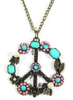 Peace Sign Necklace Flower Power Hippie Anti War Turquoise Dreamcatcher Pendant Fashion Jewelry