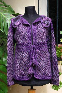 Saco by Milmakhia Ropa en telar, via Flickr Weaving Projects, Crochet Cardigan, Rompers, Wool, Knitting, Sewing, Fabric, Sweaters, How To Make
