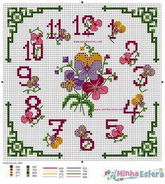 Gráfico Relógio Flores para Ponto Cruz http://www.aminhaesfera.com/2017/grafico-relogio-flores-ponto-cruz.html