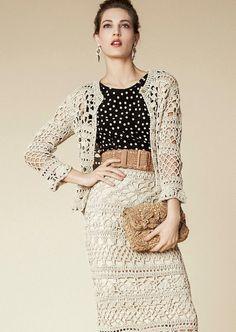 CROCHET FASHION TRENDS exclusive beige crochet by LecrochetArt, $690.00