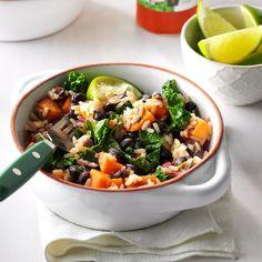 Black Bean & Sweet Potato Rice Bowls Easy Vegetarian Dinner, Vegetarian Recipes, Healthy Recipes, Veg Recipes, Weekly Recipes, Vegetarian Options, Healthy Meals, Crockpot Recipes