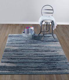 "Diagona Designs Contemporary Stripes Design Area Rug, 5'3"" W x 7'3"" L, Teal/Navy/Beige"