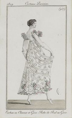 "Costume Parisien, 1809,  From the Bibliothèque des Arts Décoratifs via SceneInThePast flickr.   Plate 957  ""Turban en Cheveux et Gaze. Robe de Bal en Gaze"""