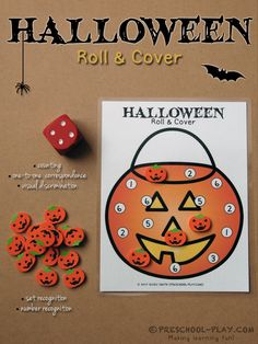 Jack-o'-lantern Roll & Cover - One of four different Halloween cards. This activity teaches counting, one-to-one correspondence, visual discrimination, set recognition, and number recognition. #earlychildhoodeducation #earlylearning #ece #prek #preschool #kindergarten #prekactivities #preschoolactivities #kidsactivities #math #counting #numberrecognition #rollandcover #setrecognition #halloween #printables #jackolantern #pumpkin