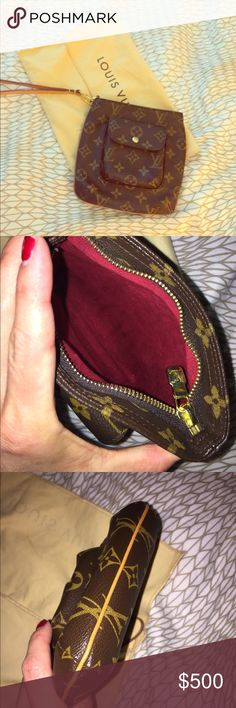 Louis Vuitton Pouchette. Like new Louis Vuitton Pouchette. Like new / re posh. I just love it, so sad to let it go. It's too small for me ( I have a toddler and carry my life with me). I'd like to get back what I paid for it ;) Louis Vuitton Bags Clutches & Wristlets