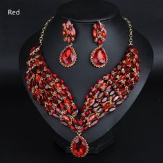 Women's Fashion Bling Drop Rhinestones Crystal Statement Necklace and Earrings Set, MT_401