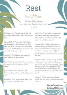 Ways to Find Rest in a Busy Season - Printable List of Bible Verses on Rest