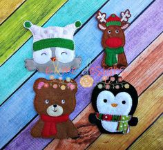 Finger Puppets – Christmas Animals Each set is OOAK yours will vary slightly from the example photo Finished set $14