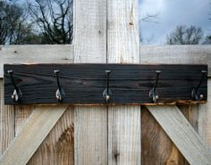 Rustic Modern Coat Rack Distressed Wood with Oil Rubbed Bronze Hooks