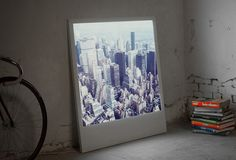 Great giant polaroid, backlit picture.  Choose one of their stock photos or send your own in.