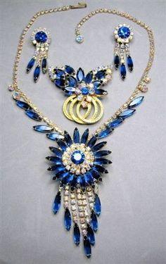 Juliana D E Blue Navette Navajo Style Rhinestone Parure | eBay