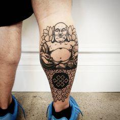 Photo by (jae_hoang) on Instagram | #buddha #buddhatattoo #geometrictattoo #pattern #blackwork #blackworktattoo #art #illustration #fusion #calftattoo #lowerlegtattoo #blackandgreytattoo #celticknot #chronicink #tattooartist Lower Leg Tattoos, Calf Tattoo, Tattoos For Women Small, Tattoo Designs, Tattoo Ideas, Celtic Knot, Black And Grey Tattoos, Unique Tattoos, Blackwork