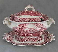 Mason's Vista Pink Red Transferware Sauce Boat Underplate Lid | eBay